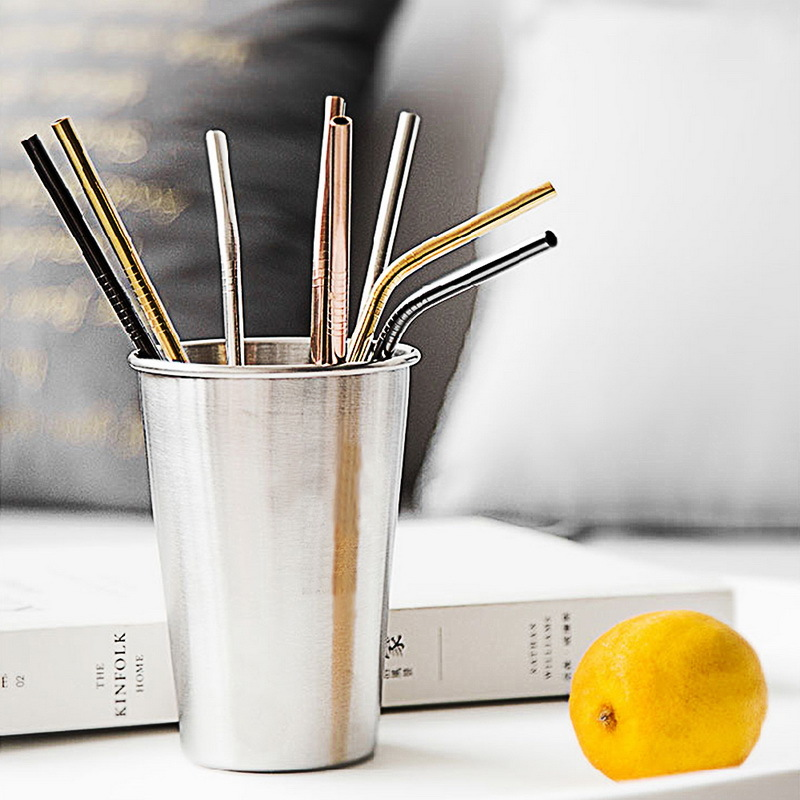 Hoomall 1/2/Reusable Drinking Straw Metal Straw With Cleaner Brush For Home Party Stainless Steel Straw Barware Gadgets C18112301