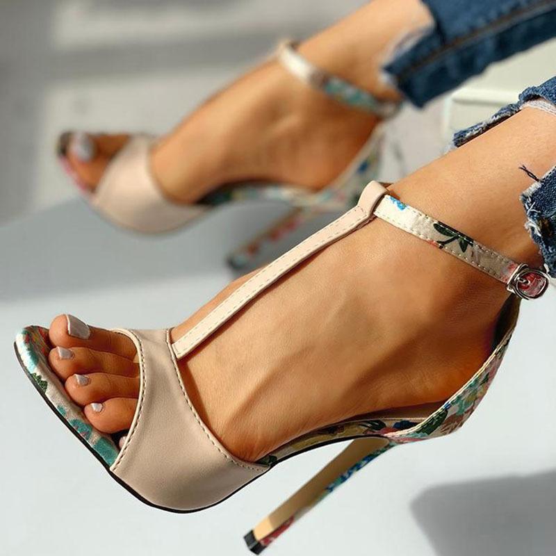SWQZVT New thin heels women fish mouth open toe summer sexy party pumps women shoes 2020 fashion print vintage ladies sandals (11)