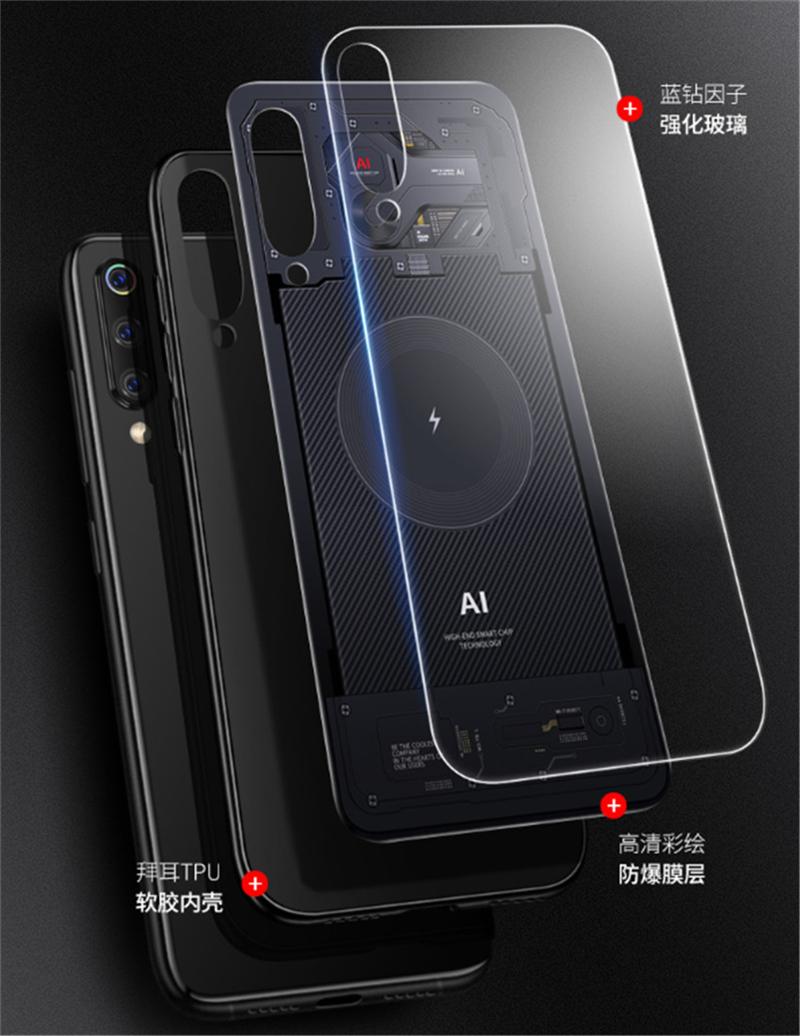 Aixuan Glass Case For Xiaomi mi 9 Mi9 Explorer Xiaomi mi 9 SE Case painted Tempered Glass Silicon Protective full Cover Cases (1)
