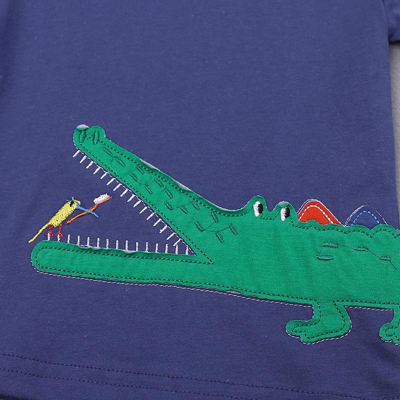 Kids Summer T-shirt Cute Animal Pattern Childrens Top Cartoon Crocodile Short Sleeve Boys Clothes