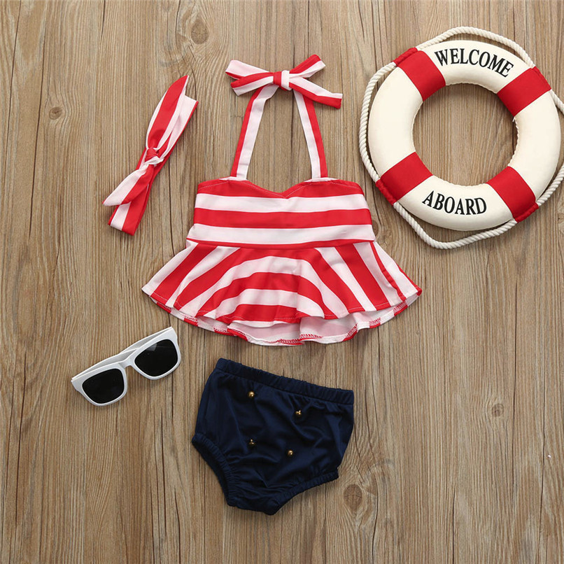 3Pcs Summer Girls Sets Infant Kids Baby Girls Striped Sleeveless Strap Tops+Solid Shorts+Headband Set Clothes Swimwear M8Y06 (2)
