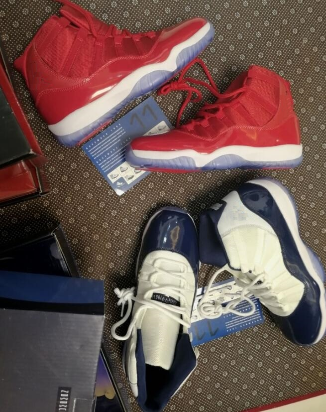 Wholesale Best Quality Win Like 96 ice blue Space Jam 11 Midnight Navy Blue Gym Red With Box Basketball shoes
