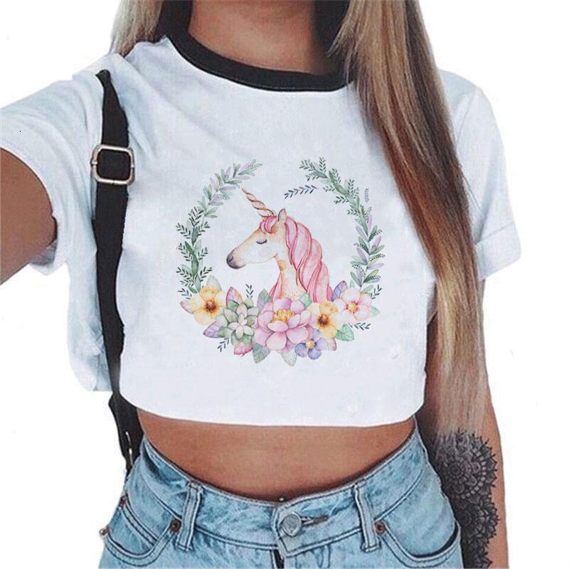Las mujeres de Cultivos atractiva superior del chaleco camisa blanca ocasional adelgaza Camisetas de la camiseta del unicornio de la serpiente de manga corta T-tapas del tanque Femme