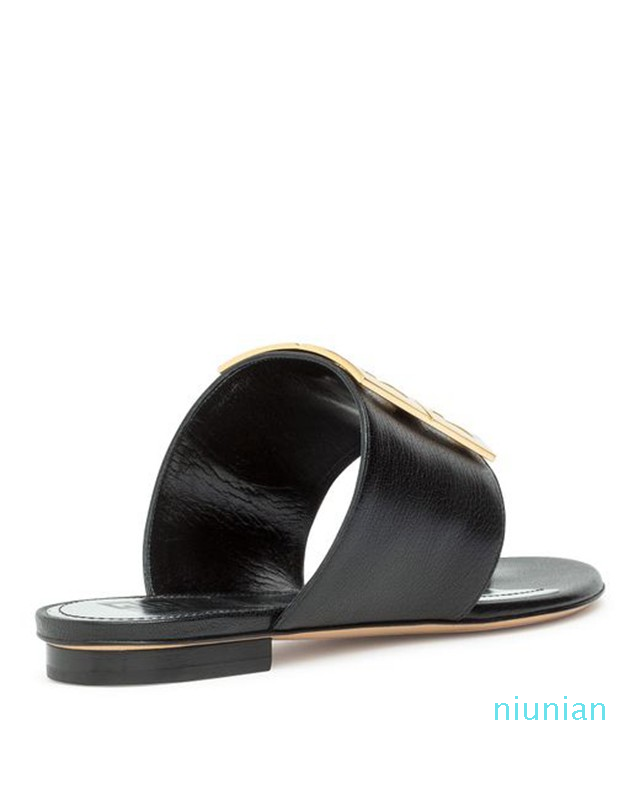 Hot Sale- Black Leather 4g Flat Sandals slippers with brass metal buckle detail sole height 9cm