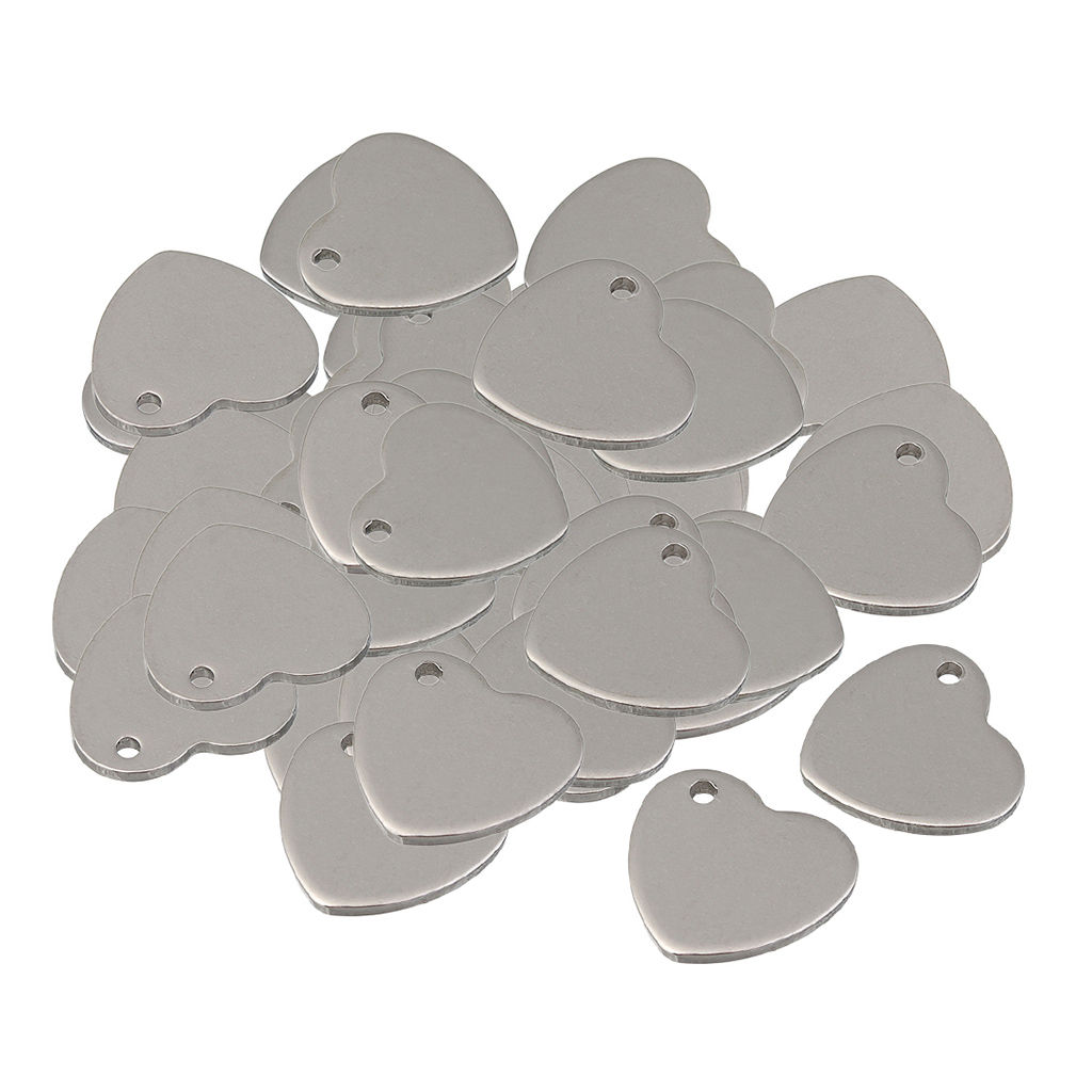 60 Pieces Metal Flat Heart Oval Blank Coin Engraving Stamping Charms Tag Pendant Necklace Bracelet Pendants for Jewelry Making