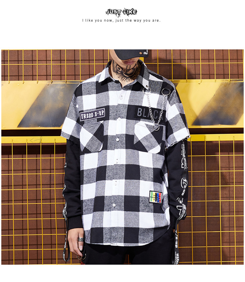 Red And Black Plaid Patchwork Shirt Men (10)