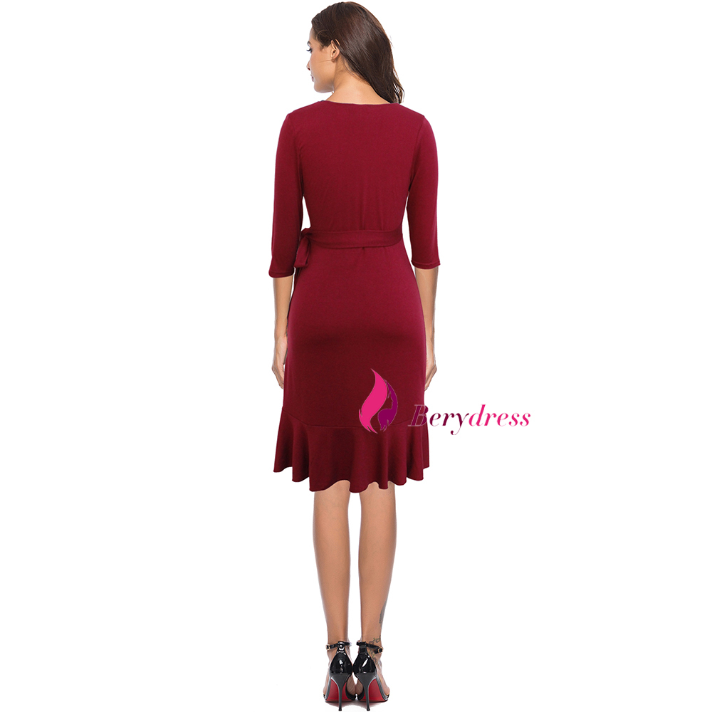 burgundy dress back