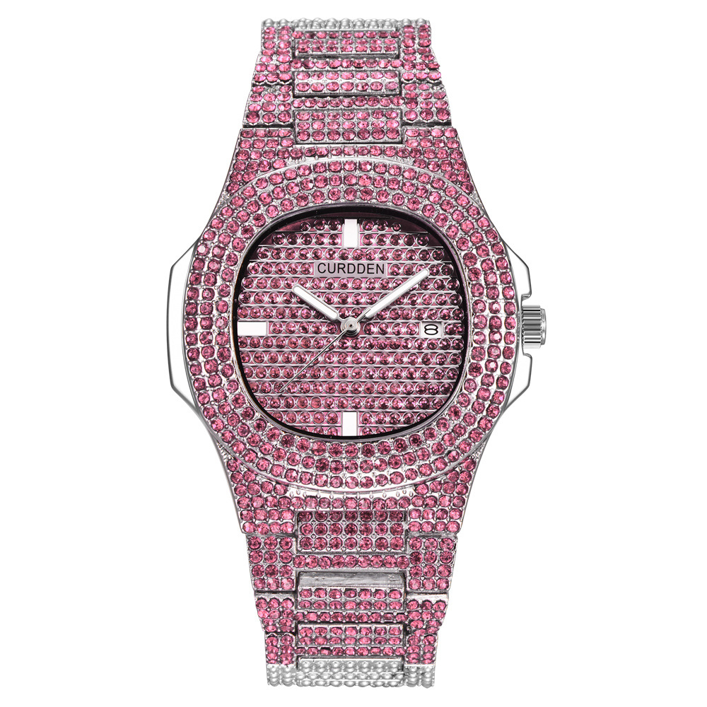bling diamonds watches for unisex fashion women watch men business stainless steel clock hours free shipping (8)