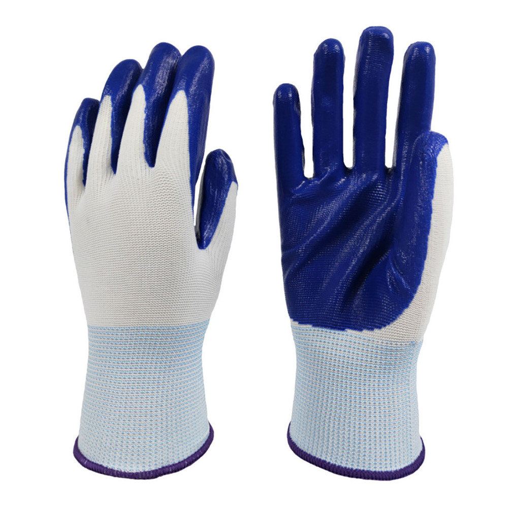 Protect Gloves White Nylon Coated Blue Nitrile Safety Working Gloves Wearproof Antiskid 13 Gauge Knitted
