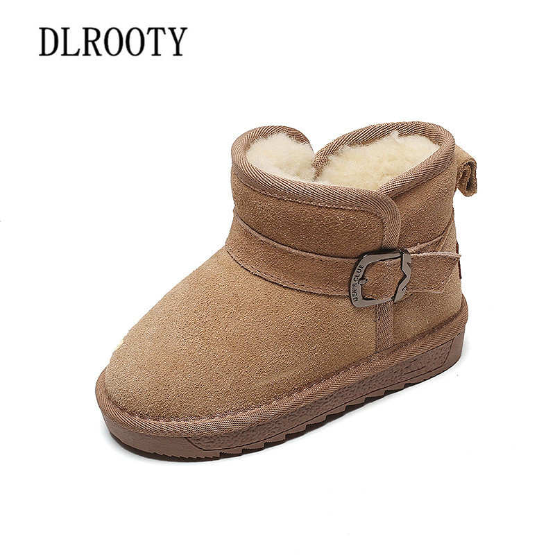 Boys Girls Winter Snow Boots Warm Fur Lined Leather Martin Ankle Flat Booties Shoes Toddler//Little Kid//Big Kid