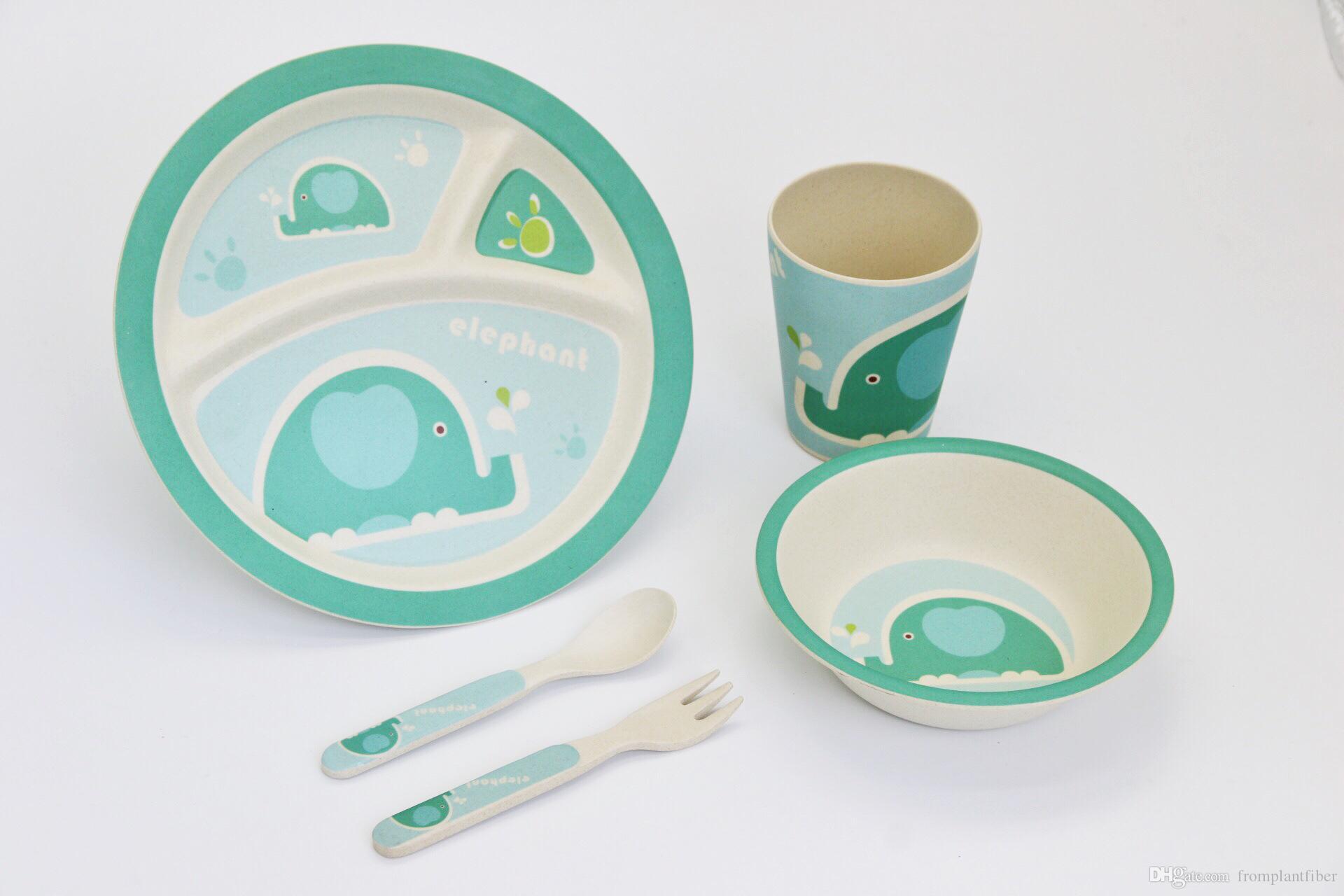 Camping Vaisselle picknickset Pique-Vaisselle 4 Personnes Bambou Turquoise