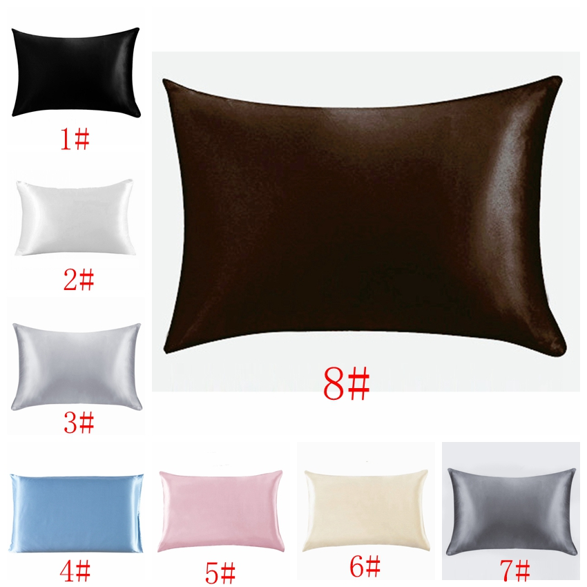 NEW Solid Silk Satin Pillow Case Bedding Pillowcase Smooth Home Bedding Supples