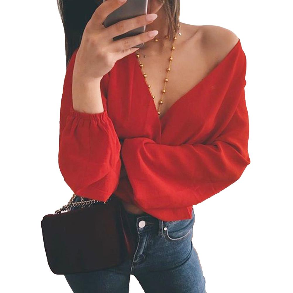 Blusas Mujer De Moda 2019 Moda Feminina Tie-back Blusa Decote Em V Profundo Manga Longa Blusas Sexy Recorte Camisa Top Colheita Amarelo