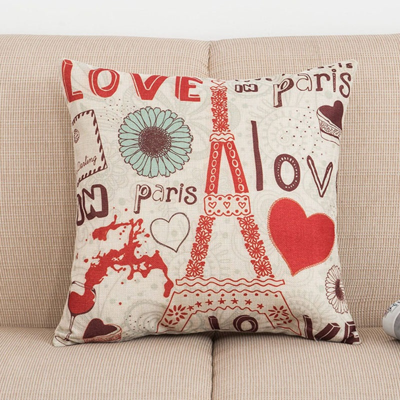 France Eiffel Tower Cotton Linen Throw Pillow Case Cushion Cover Home sofa Decor