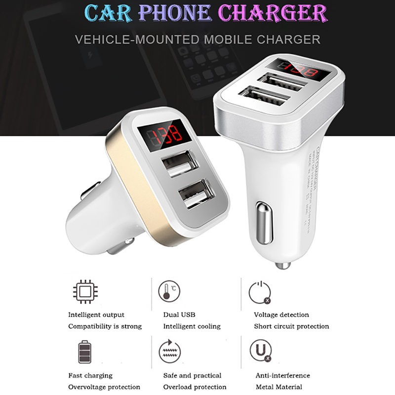 2-Port USB Car-charger Smart Charging Adapter For iphone 6 7 Samsung Xiaomi Mobile Phone LED Display 2.1A Car Charger 70