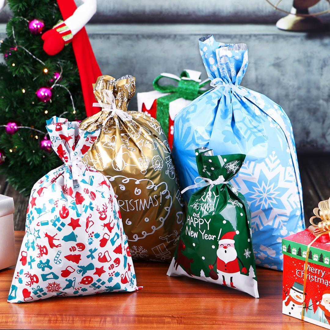 30pcS Assorted Christmas Gift Bags Party Robbon String Candy Pouch Bag Wrap Uk