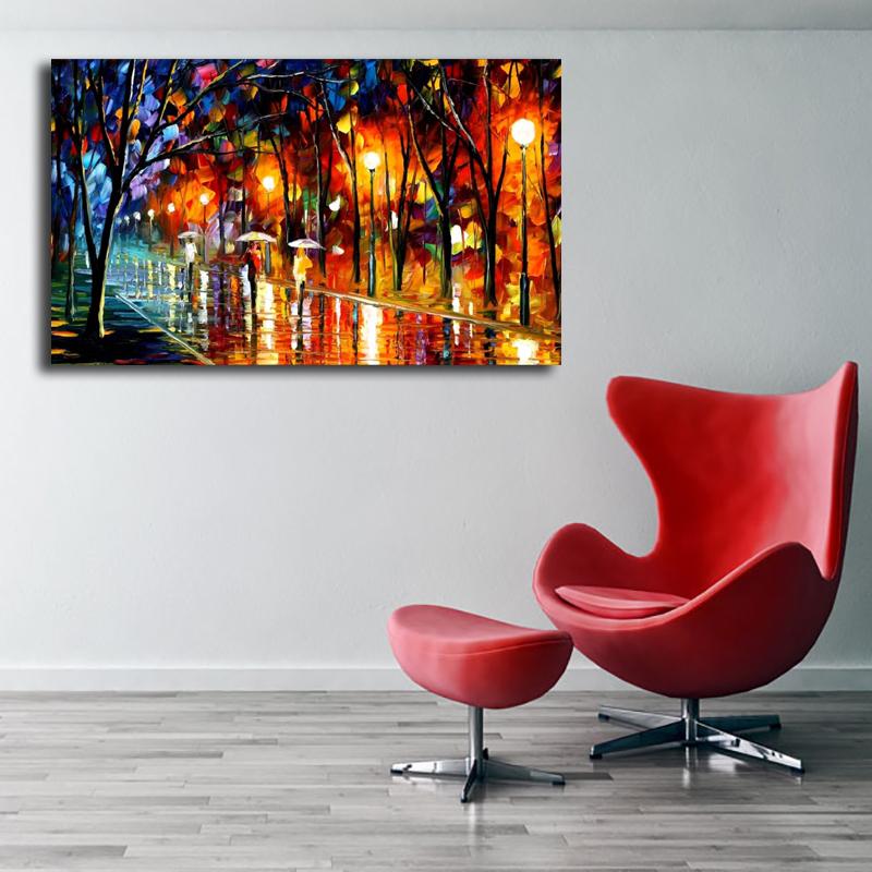 PT/_ Cn /_ Abstract Colorato Rain Pittura a Olio Decorativa Immagine Soggiorno D