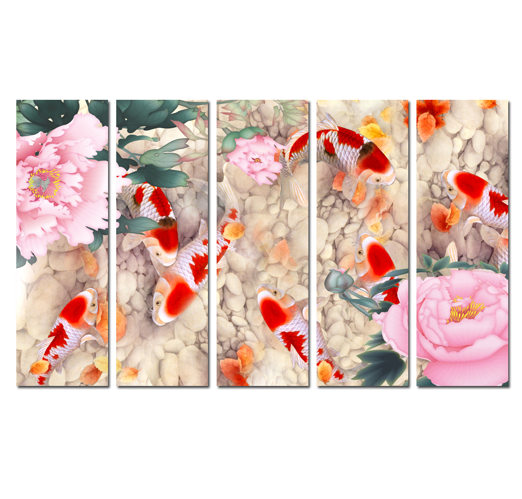 """LARGE ORANGE BLACK FENG SHUI CHINESE  CANVAS ART  PICTURE MULTI 4 PANEL 57/"""" WIDE"""