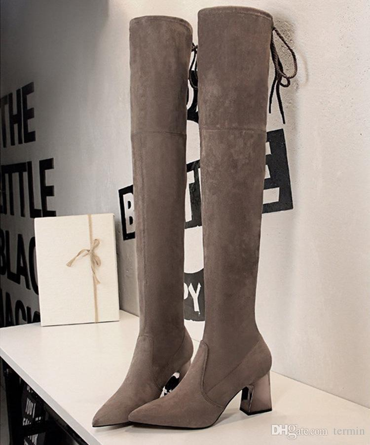 Charm2019 Sexy Long Tube Boots With High Heel Pointy Sexy Slim Nightclub Over Women Knee Boots. XZ-091