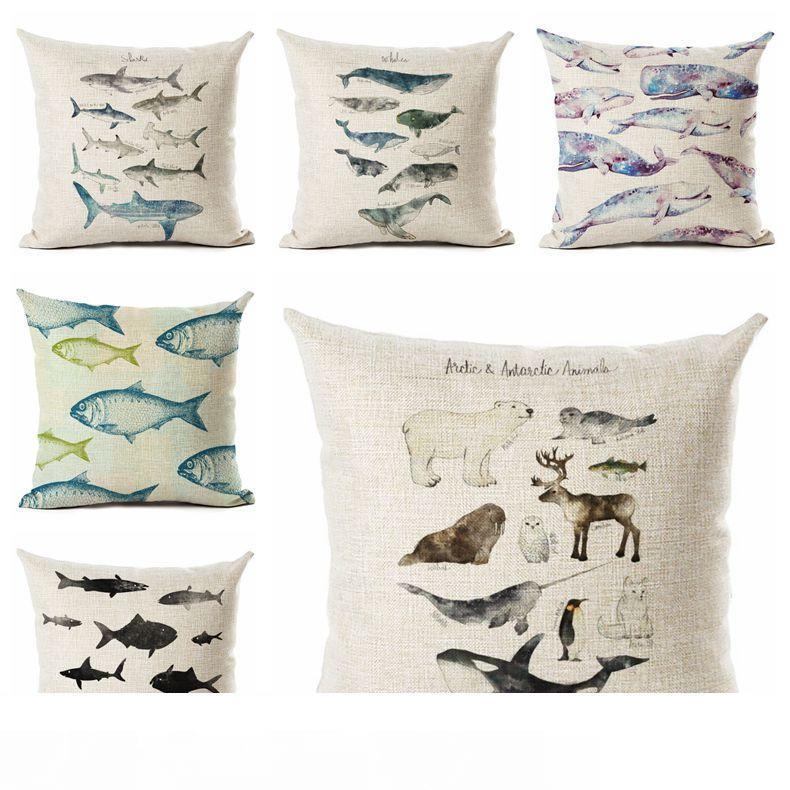 2pcs living room pillows ocean beach sea fish cushion cover