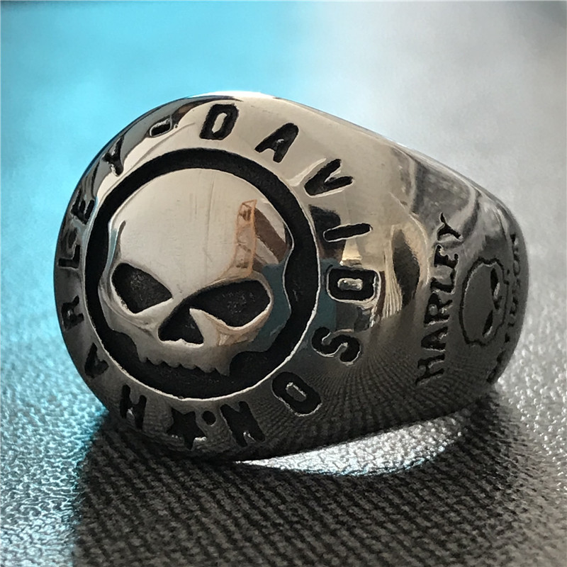 Stainless Steel 2 Color Tribal Trident Biker Ring