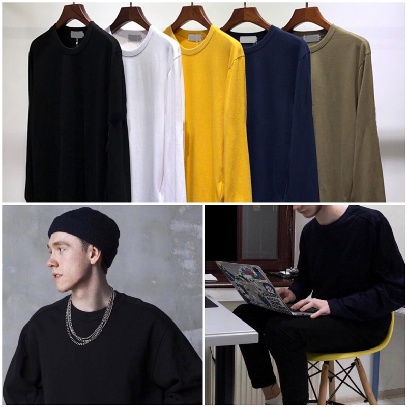 Hip Pop Loose Fit Blouse Mens Autumn Casual Solid Cotton Long Sleeve Hoodie Top