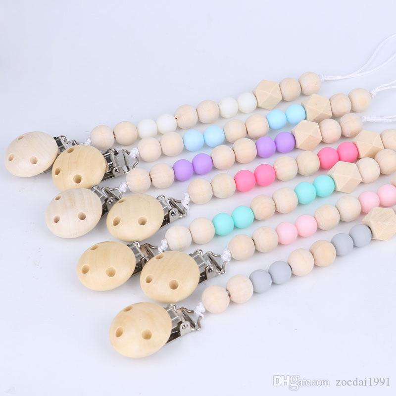 Baby Dummy Soother Wooden Pacifier Clip Holder Strap Shower Christening Gift UK