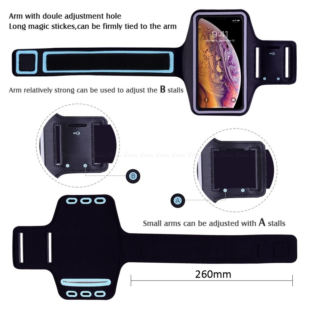 Sports Running Arm Band Phone Case Holder Pouch For Iphone X Xs Max Xr 8 7 6 6s Plus Se 5 5c 5s 4 4s Workout Gym Cover Bag C19041301
