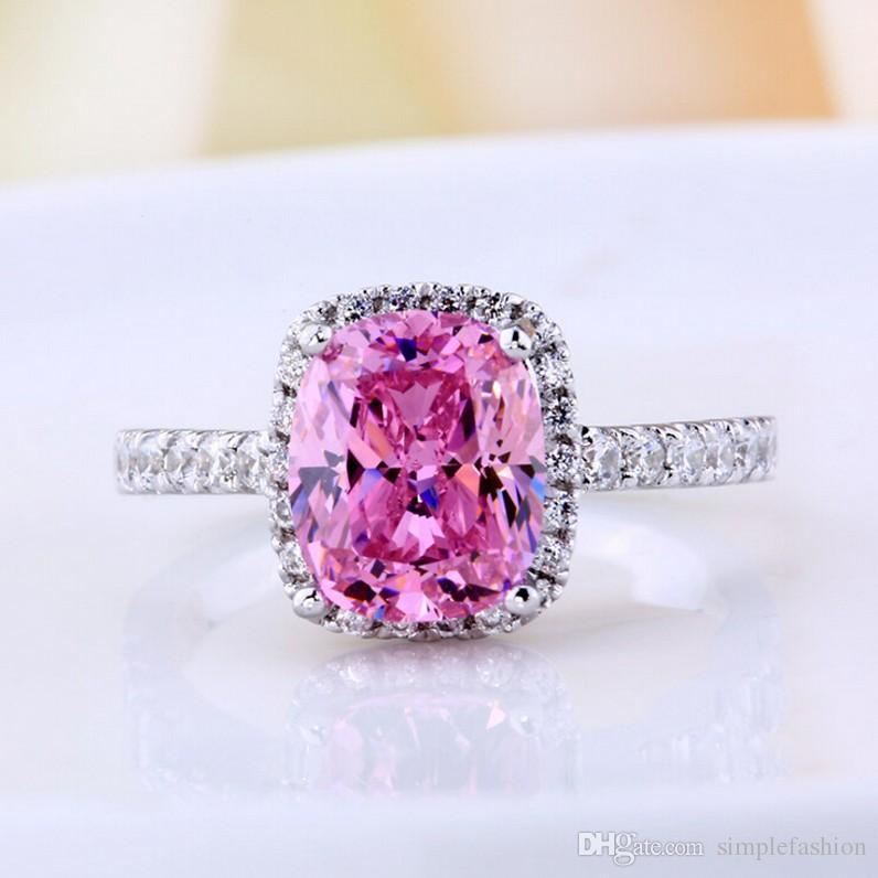 SVC-JEWELS 14k Rose Gold Plated 925 Sterling Silver Pink Sapphire Cluster Engagement Wedding Band Ring Mens