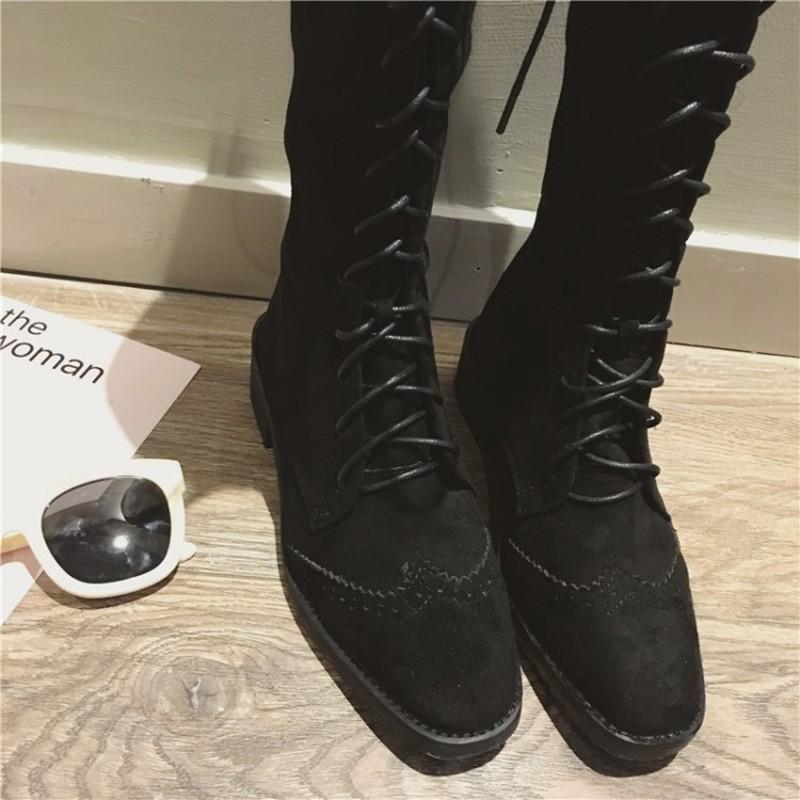 Compre COOTELILI Botas De Caña Alta Para Mujer Zapatos De Goma Para Mujer Botas Brogue Con Cordones Mujer Otoño Invierno Zapatos Para Mujer 35 39 A