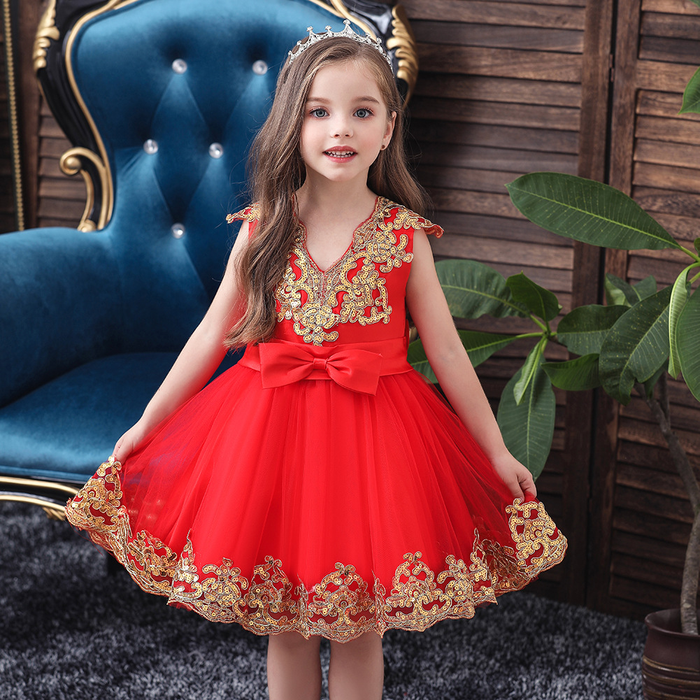 MSFENG Girls Elegant Tea Party Formal Floral Dress Kids Birthday Princess Pageant Wedding Bridesmaid Toddler Dresses