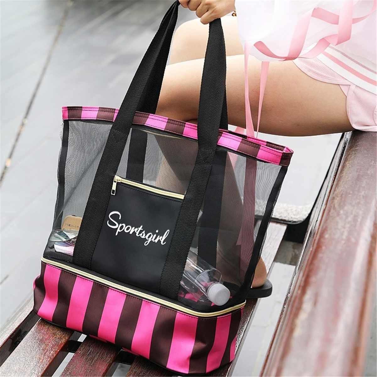 Waterproof Swimming Mesh Bag Beach Shoulder Bags Dry Wet Separate Handbags for Women Yoga Storage Package