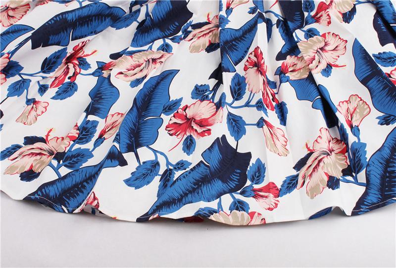 Kostlish Retro Print Flower Summer Skirts Womens High Waist Vintage Skirt Elegant A-Line Midi Women Skirt Plus Size XXL 22 (70)