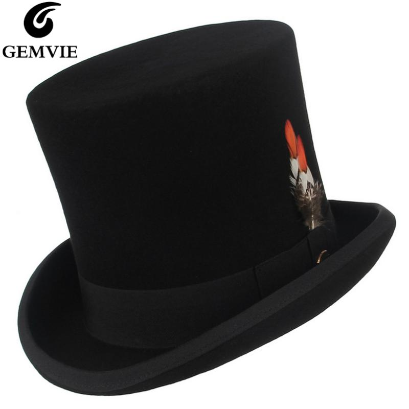 Fashion Warm Comfortable Hats for Women Gray Wool Women Men Fedora Top Hat for Magician Steampunk Mad Hatter Uncle Sam Beaver Party Wedding Hat