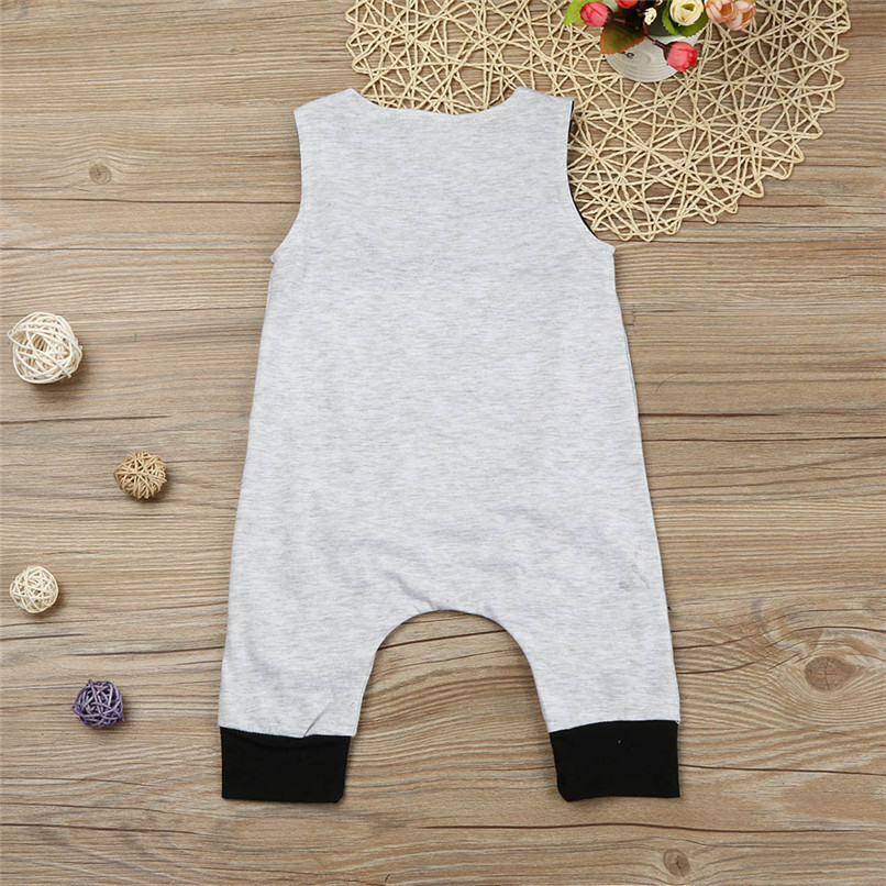 Summer Boys Romper Newborn Infant Baby Boy Solid Sleeveless O-Neck Jumpsuit Romper Clothes Suit For 6-24M boys M8Y07 (4)