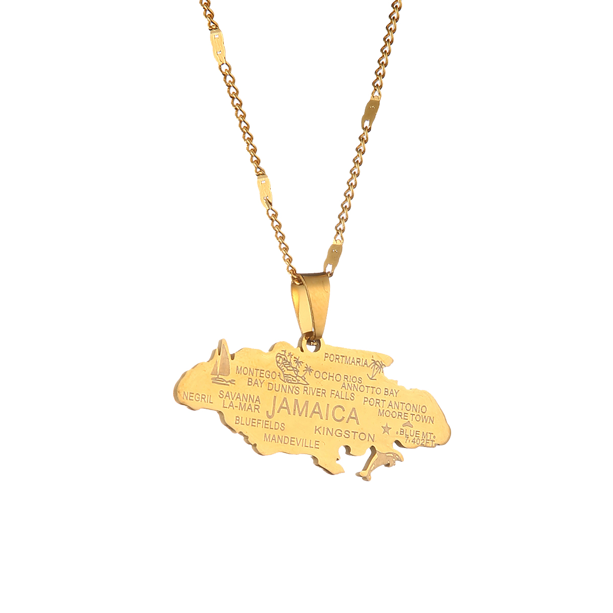 Mens necklace Map Of Jamaica With City Pendant Necklaces For Women Girls Stainless Steel Jamaica Maps Chains Gold Color Itmes