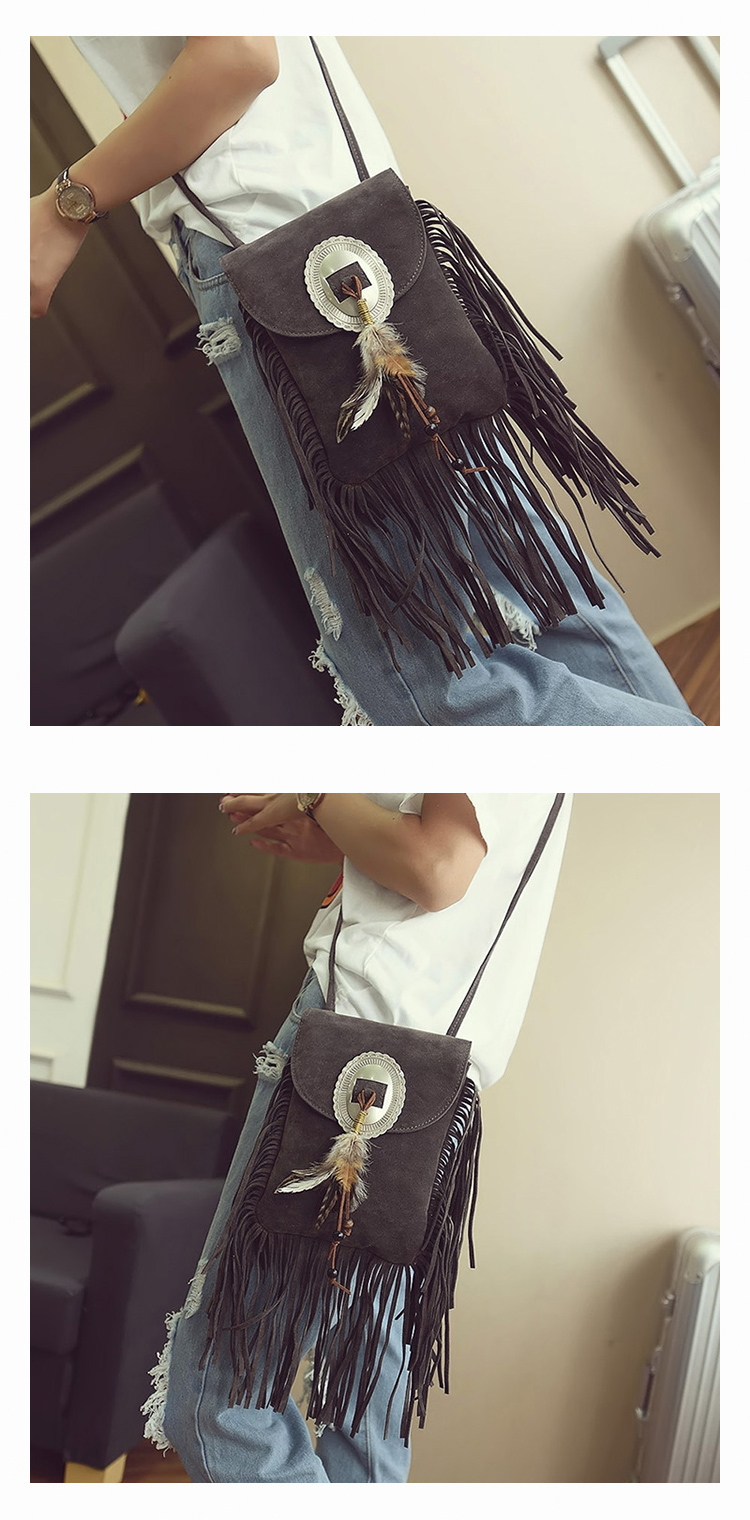 Female Small suede Bag Brown Beaded Feathers Hippie American Indian Tribal Bohemian Boho Chic Ibiza Style Pouch Bag (13)