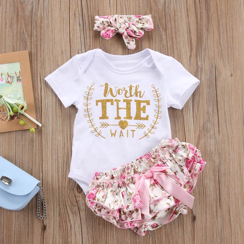 Cute Newborn Baby Girl Clothes 2017 Worth The Wait Baby Bodysuit Romper+Ruffles Tutu Skirted Shorts Headband Outfits Y18120303