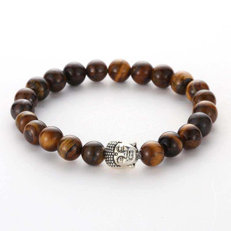8 mm NATUREL PIERRE PRÉCIEUSE RONDE FACETTE perles Bouddha Tête Extensible Bracelets