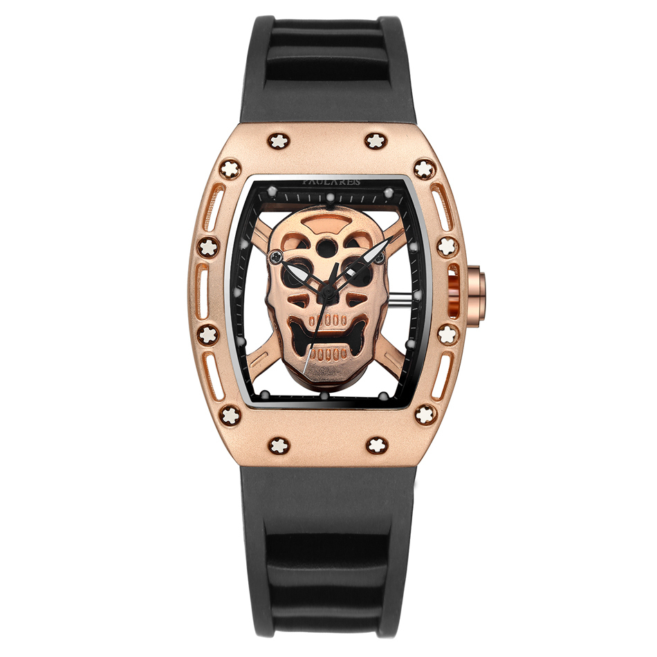 Men Fashion Quartz Rose Gold Silver Black Skeleton Skull Silicone Strap Rectangle Transparent Watch Y19051703