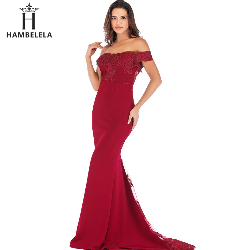 HAMBELELA Vestido De Festa Pink Black Red Mermaid Dress Lace Top Bodice Slim Long Formal Party Dress Charming Wedding Party Gown (8)