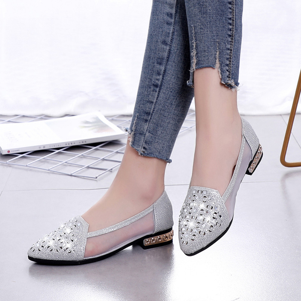 Shoes Youyedian 2019 New African Women Ballet With Low Heel Metal Pointed Toe Hollow Out Chaussure Femme Talon Bas #g30