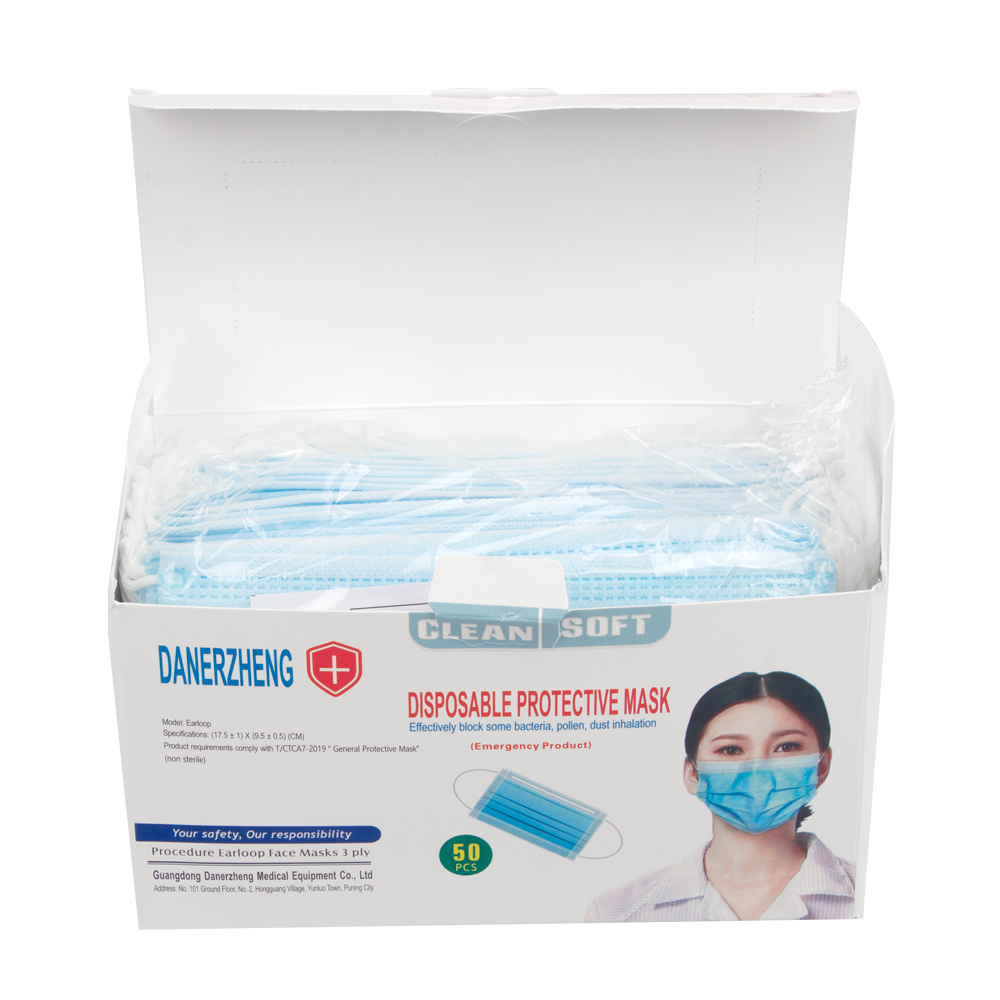 Disposable Face Masks With Elastic Ear Loop 3 Ply Breathable And Comfortable For Blocking Dust Air Pollution Protection Pack