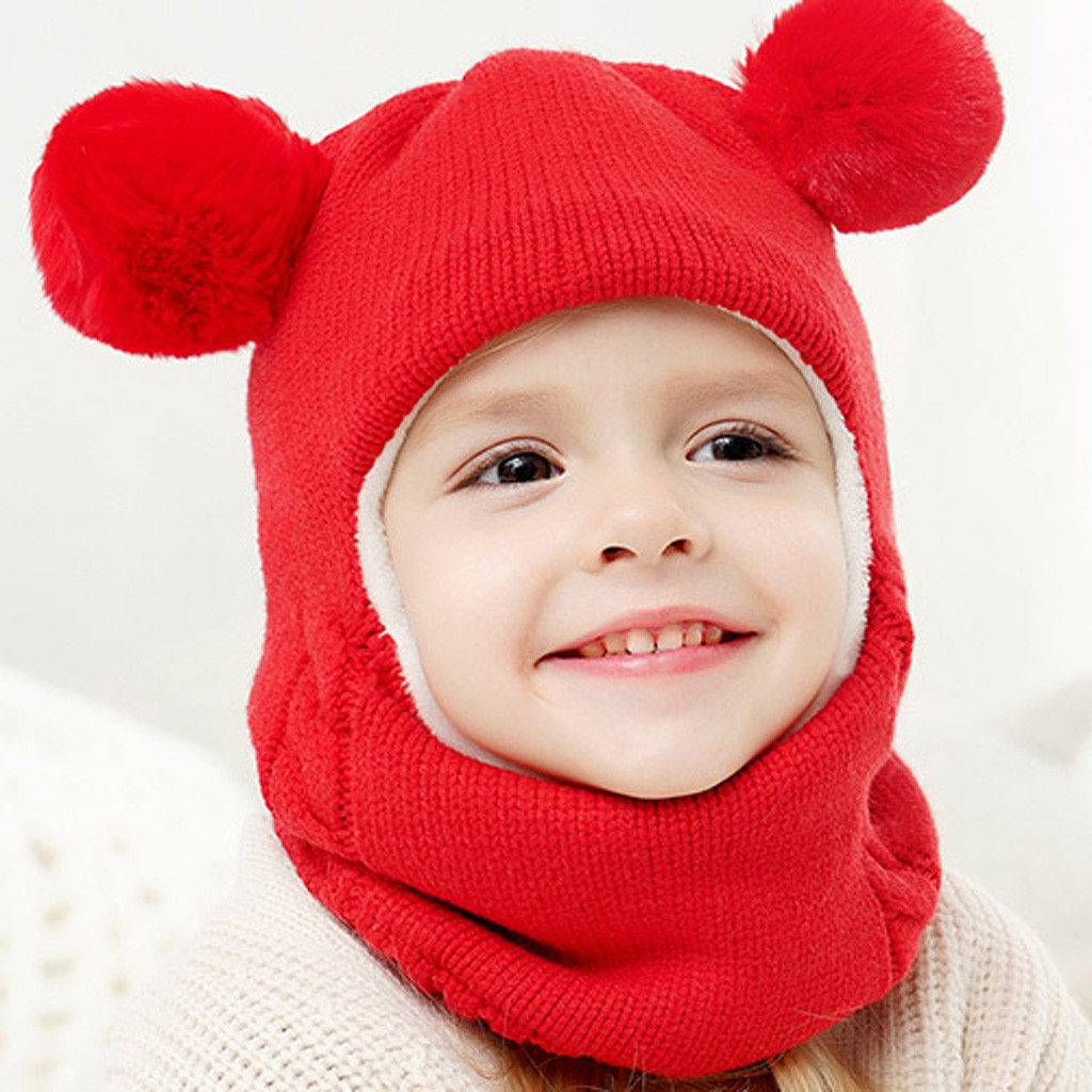 AM/_ Cute Pompom Beanie Cap Outdoor Toddler Baby Boy Girl Elastic Knitted Hat Coo