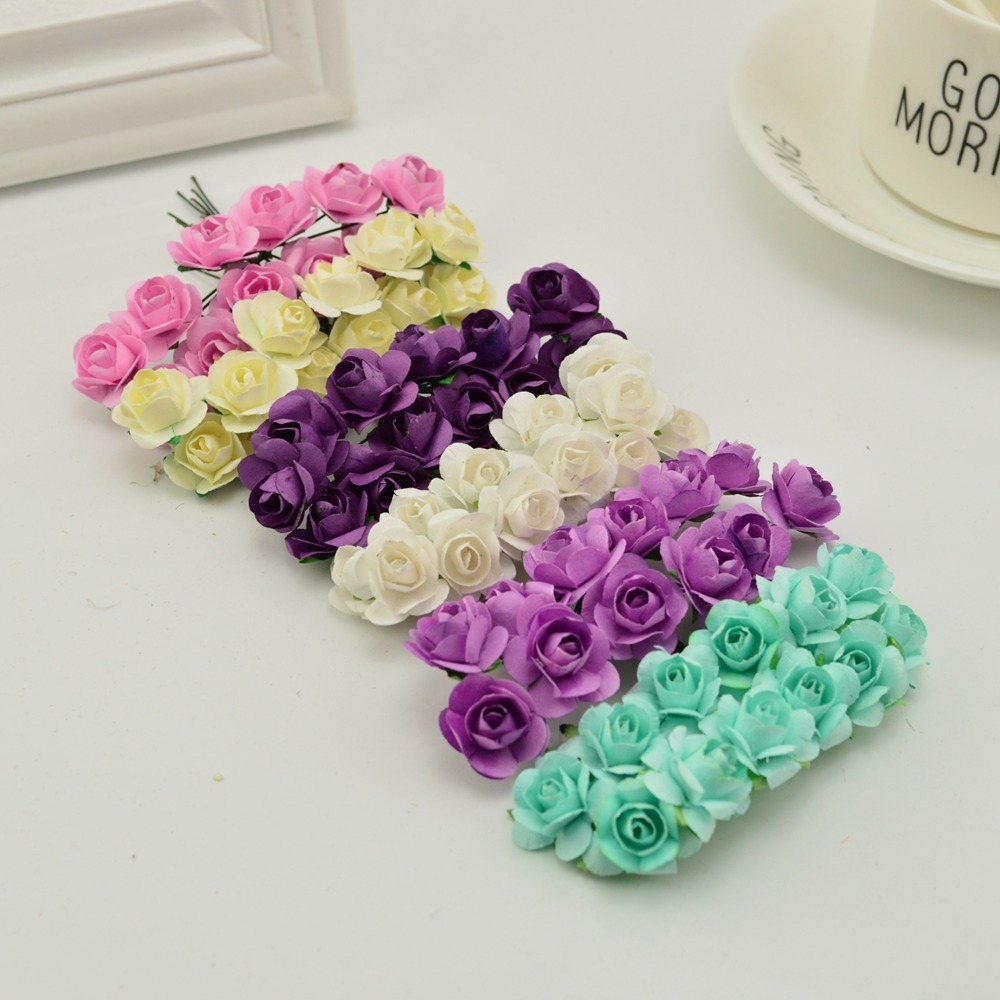 144pcs-1cm-cheap-Artificial-Paper-flowers-for-Wedding-car-fake-Roses-Used-For-decoration-Candy-box(1)
