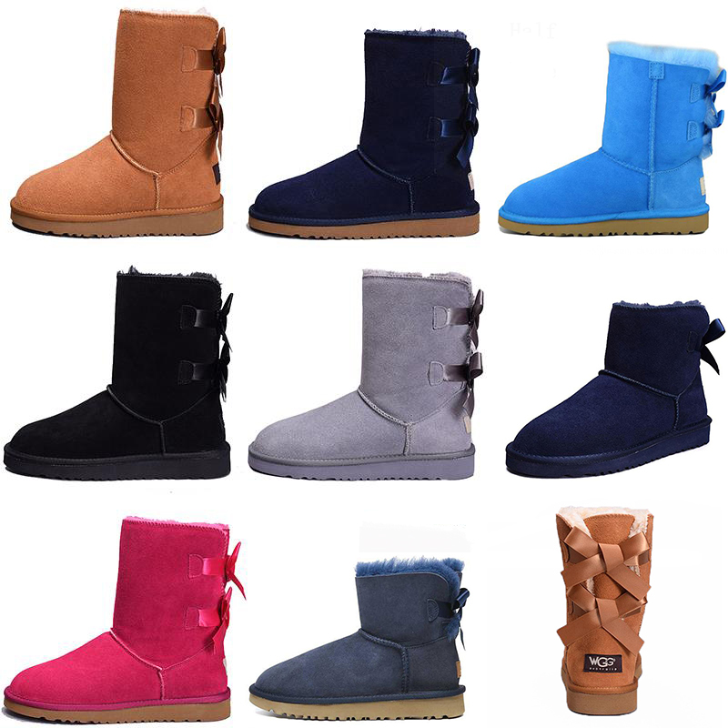 2020 Snow Winter Leather WGG Women Australia Classic kneel half Boots Ankle boots Black Grey chestnut navy blue red Womens girl shoes