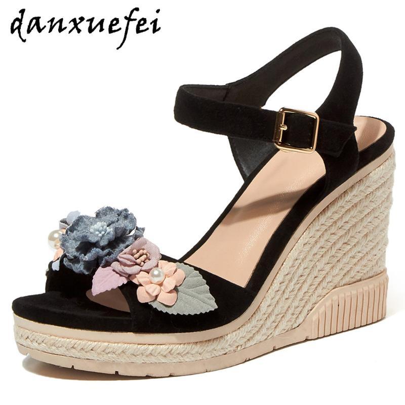 Femme Pantoufles Chaussures Fleurs en Daim à Talon Haut Compensé Bout Ouvert Plateforme Sandales