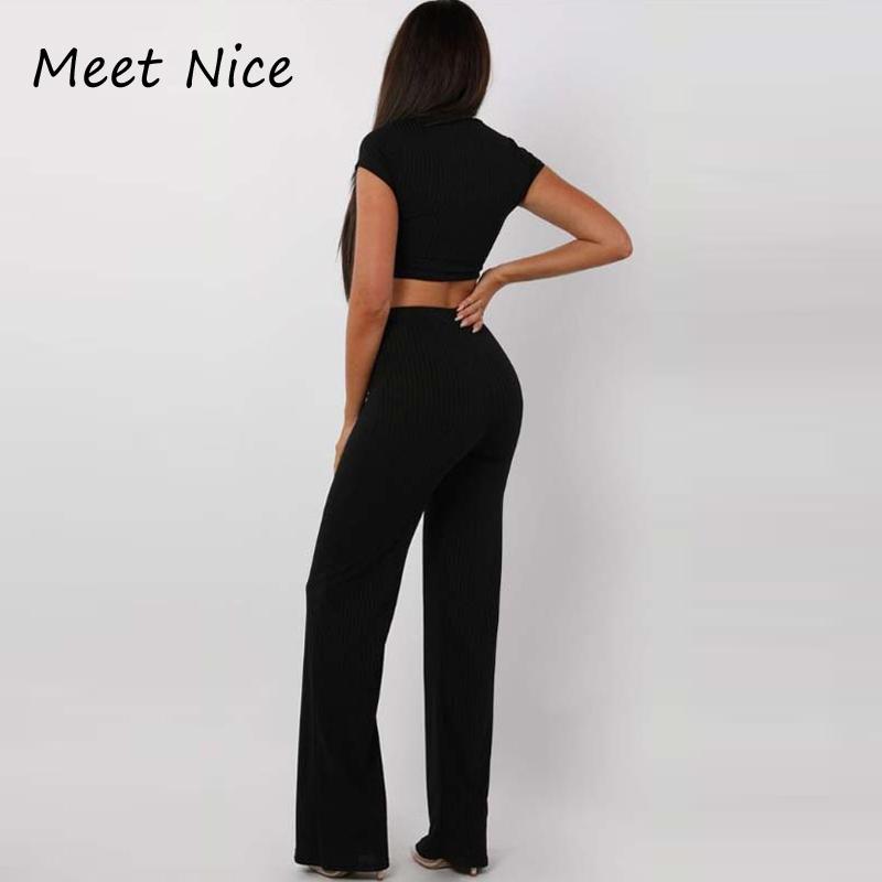 2 двухсекционный комплект женщин ребристый O шеи укороченный топ и длинные брюки комплект сексуальный осень с коротким рукавом спортивный костюм женщины Conjunto Feminino 2018 J190426