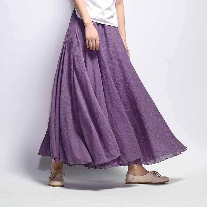 2019 Moda Tasarım Yaz Kadın Etek Keten Pamuk Vintage Uzun Etekler Elastik Bel Boho Bej Pembe Maxi Etekler Faldas Saia MX190731