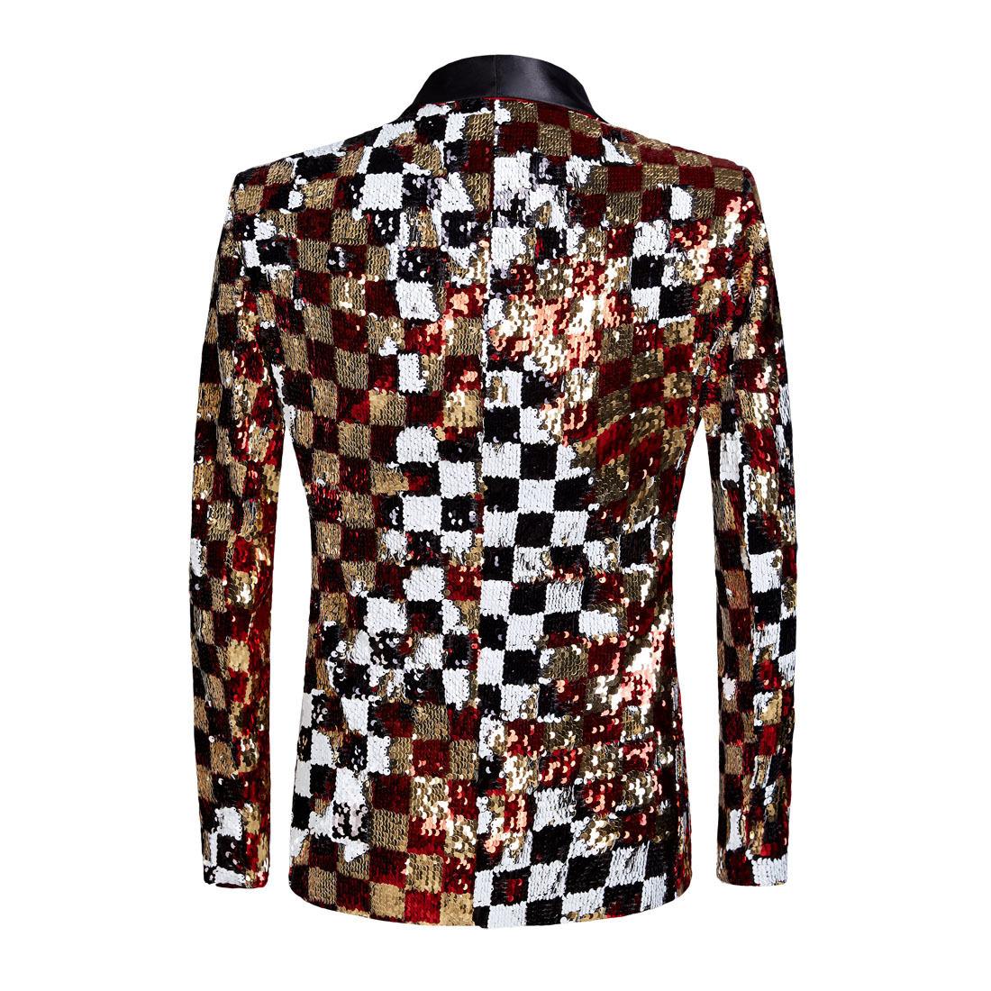 Pyjtrl Brand New Men Double-sided Colorful Plaid Red Gold White Black Sequins Blazer Design Dj Singer Suit Jacket Fashion Outfit